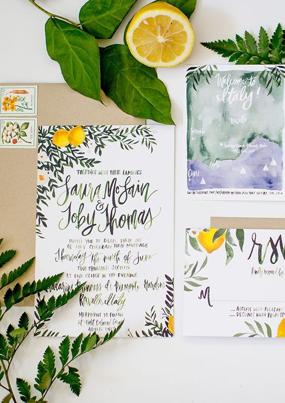 lemon and fern wedding stationary in watercolro style