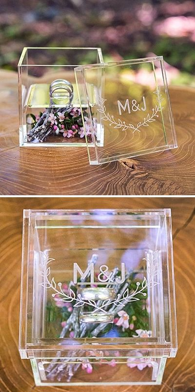 modern acrylic wedding ring box with flowers inside