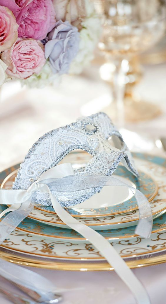 a powder blue wedding mask for the bride who wants something blue