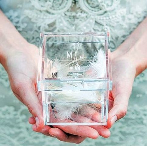 clear acrylic wedding ring box with feathers
