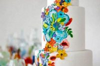 31 hand painted watercolor wedding cake inspired by traditional Mexican motifs