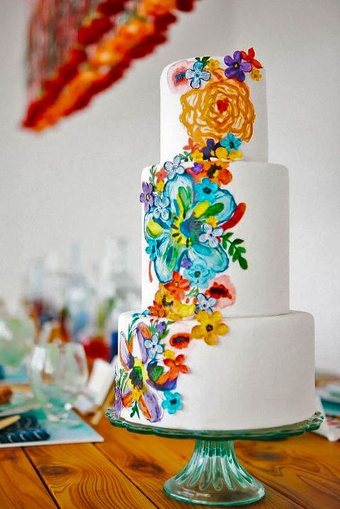 hand painted watercolor wedding cake inspired by traditional Mexican motifs