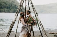 31 teepee-shaped altar of birch branches and flowers