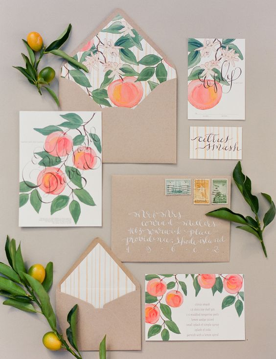 watercolor peach wedding stationary with kraft paper envelopes