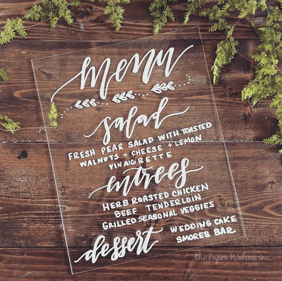 wedding menu with white calligraphy is a chic idea
