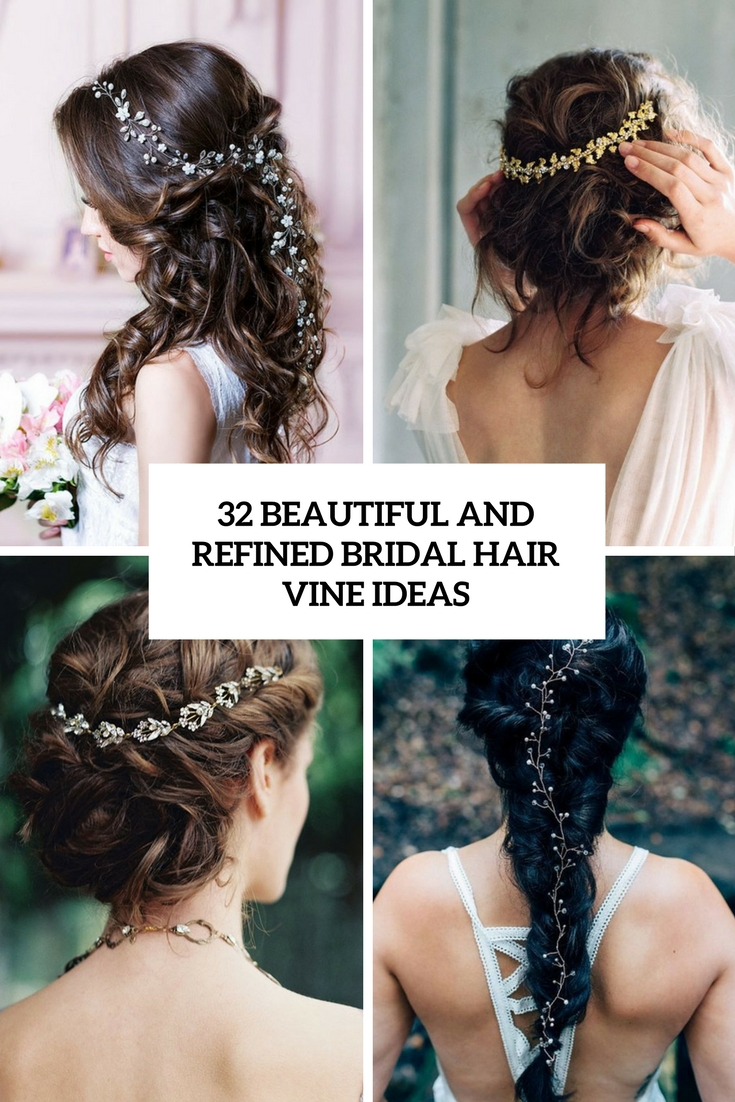 beautiful and refined bridal hair vine ideas cover