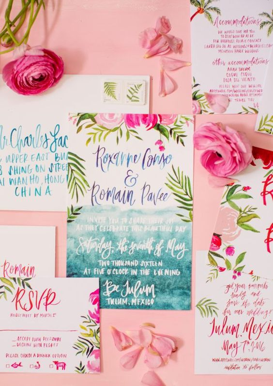 colorful tropical flowers and greenery prints for the wedding stationary