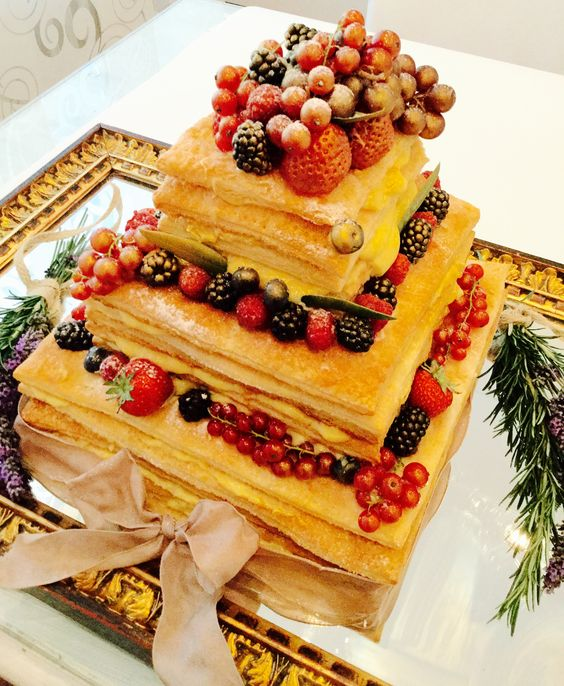 millefoglie wedding cake with fresh berries is traditional for Italy