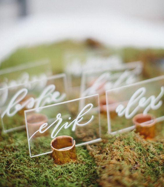 acrylic wedding cards in moss for a modern forest wedding