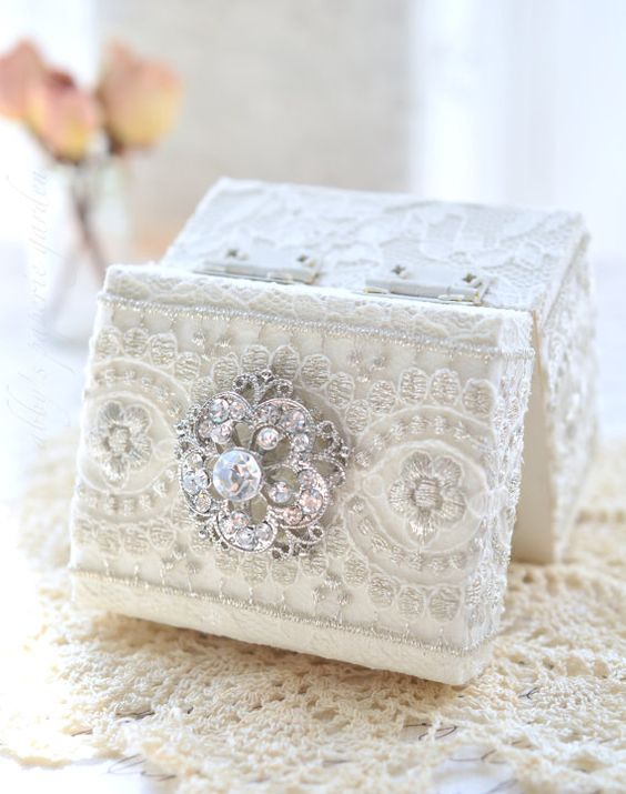 exquisite lace and rhinestone wedding ring box