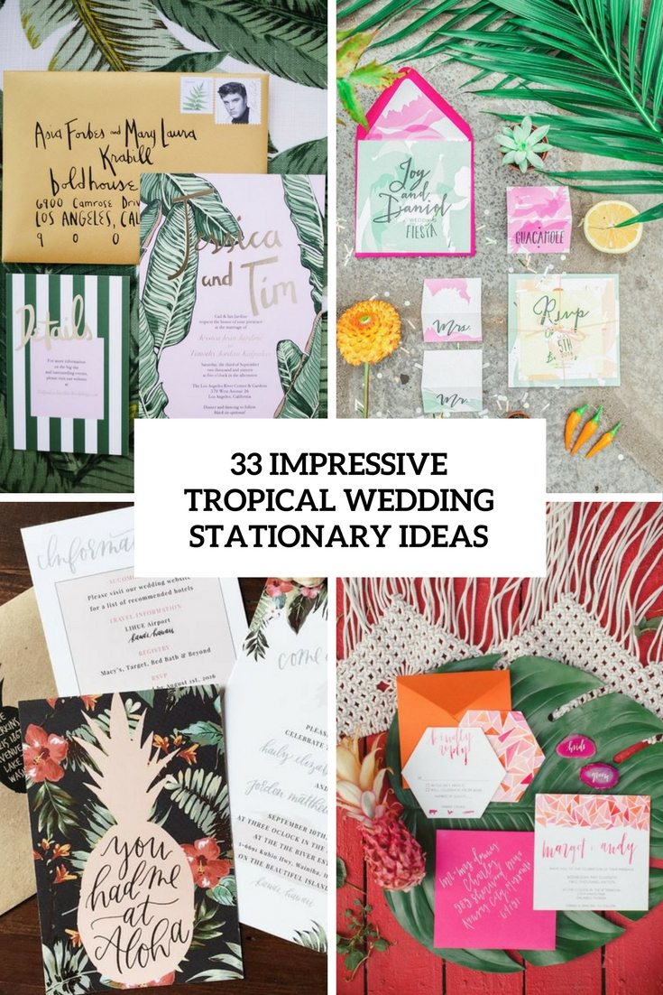 impressive tropical wedding stationary ideas cover