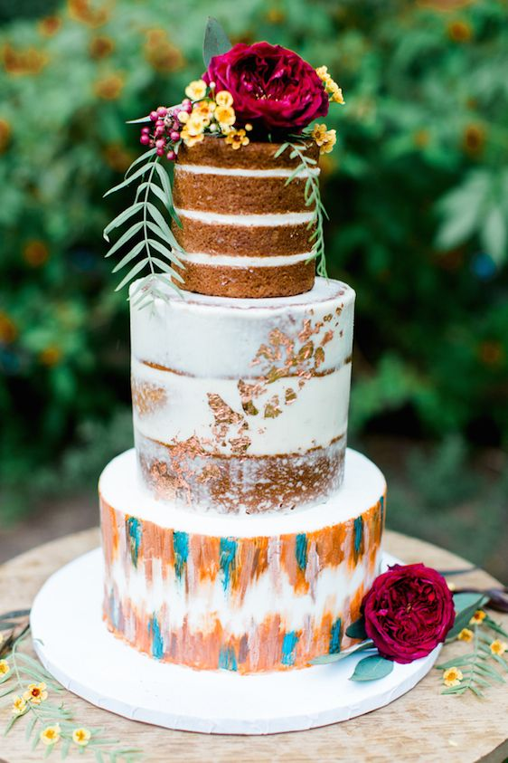 naked, semi-naked and watercolor wedding cake with florals