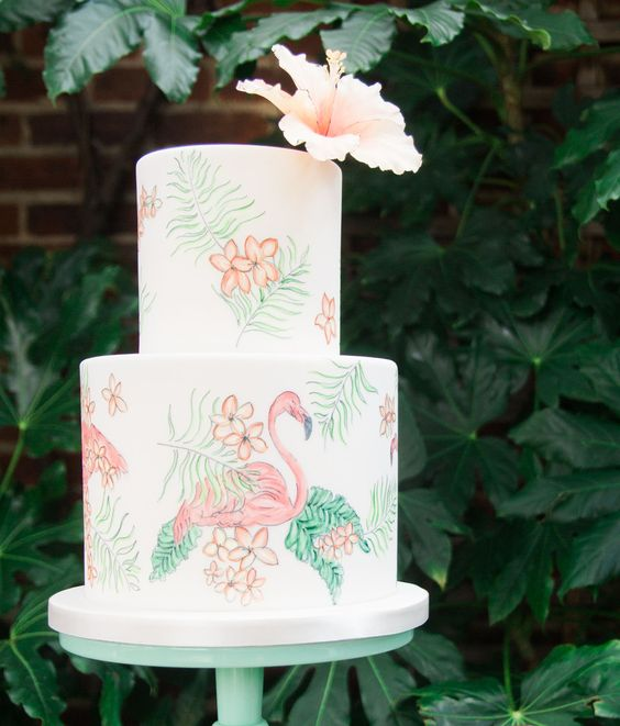 hand painted flamingo and tropical flower wedding cake