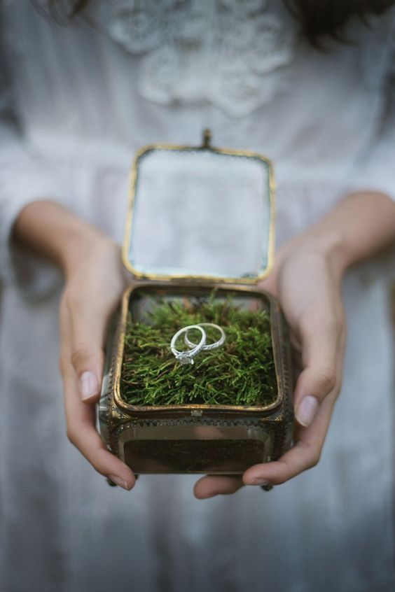 metal and enamel wedding box with moss inside