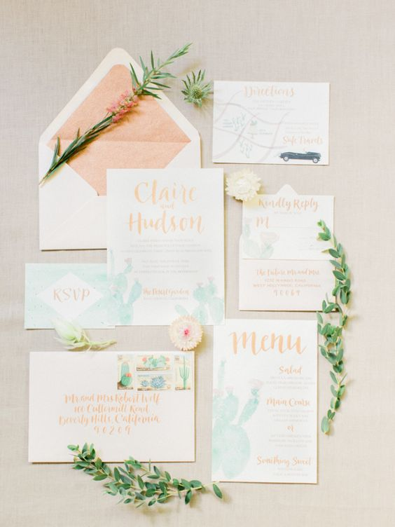 peach and green watercolor cacti wedding stationary