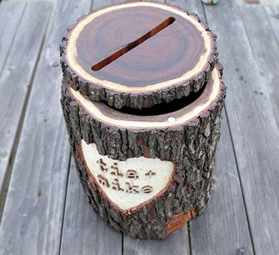 turn a log into a card box for a rustic wedding