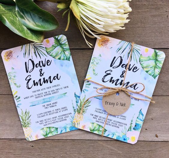 watercolor wedding stationary with rope and tags