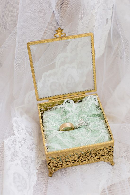 refined gilded wedding ring box with mint lace