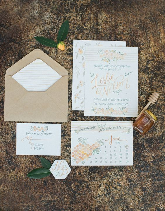 soft watercolor wedding stationary with honey comb prints