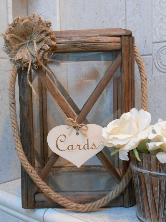 wooden lantern wedding card holder is a creative idea