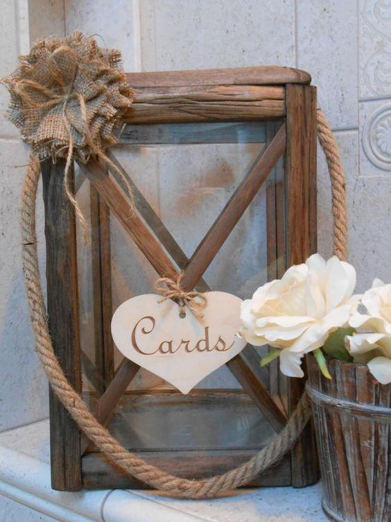 wooden lantern wedding card holder is a creative idea