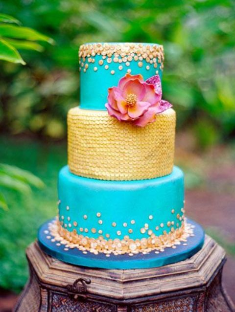 3-tier aqua and gold Moroccan themed wedding cake