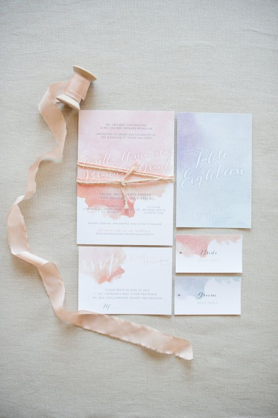 sweet watercolor wedding stationary in pink and lavender