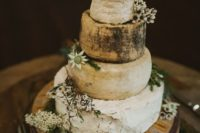 Australian cheese wheels and natural flowers