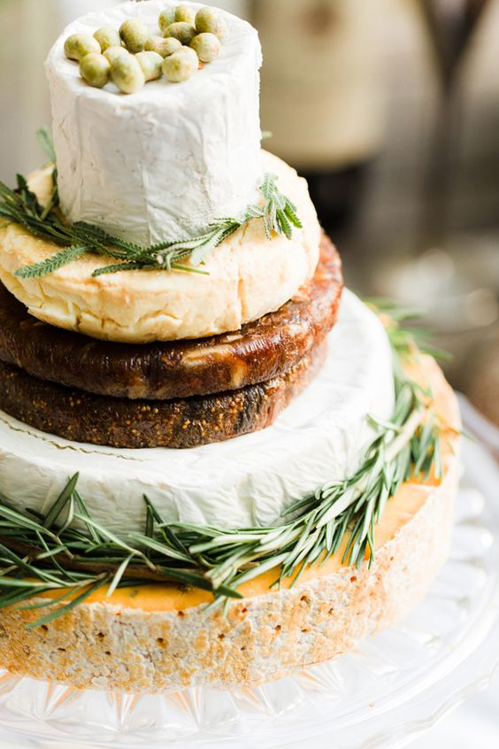 French-inspired cheese tower with herbs and veggies