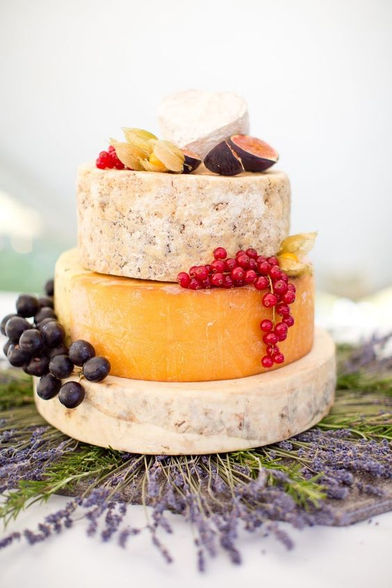 Grapes And Thistles On A Cheese Wedding Cake