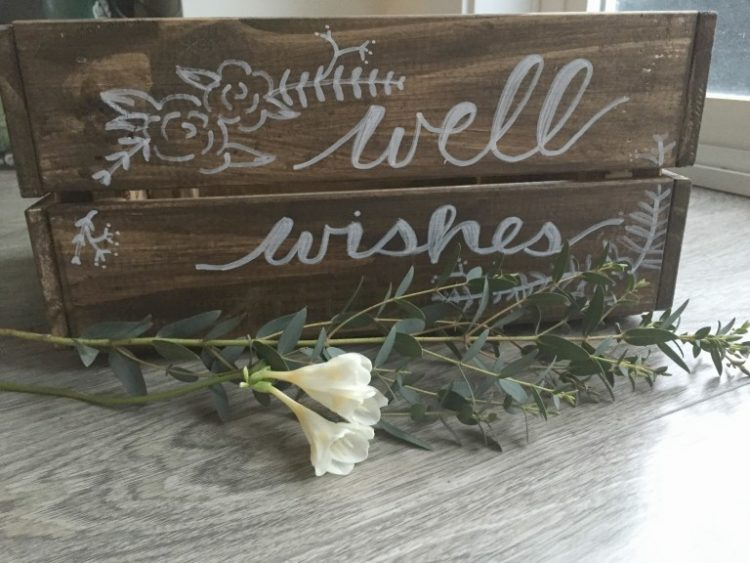 DIY rustic wedding card box with white paint (via sweetheartevents.ca)
