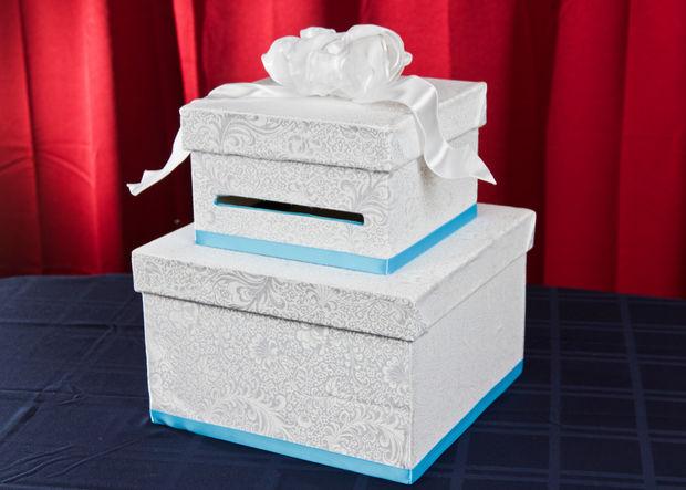 DIY wedding card box of a paper mache box set (via www.instructables.com)