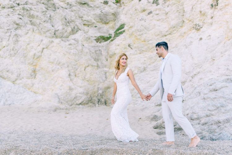 This beautiful couple from California chose Mykonos, Greece, as their wedding location
