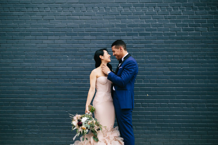 Industiral Meets Modern Wedding With A Blush Wedding Gown