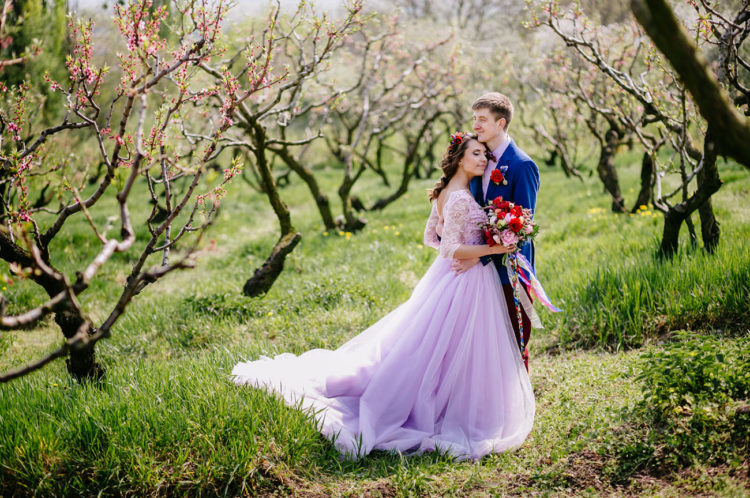 Apple orchard wedding with a lavender wedding dress weddingomania junglespirit