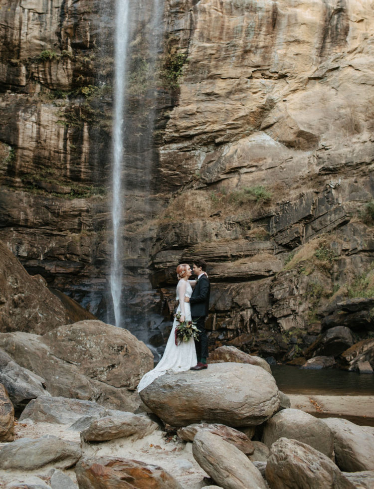 this wedding took place at a waterfall in a national reserve and was full of gorgeous