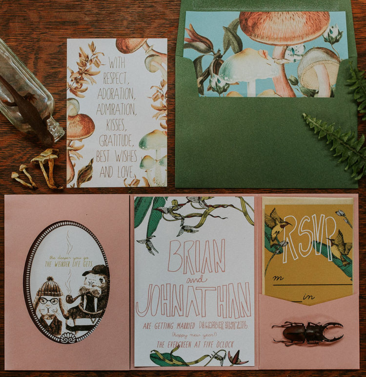 Look at this colorful invitation suite with mushrooms and animals
