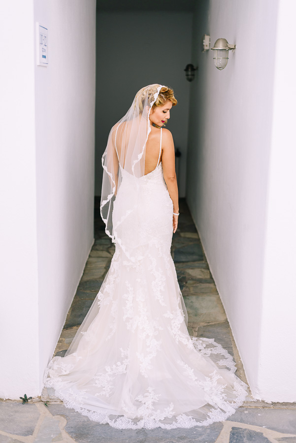 The bride was wearing a spaghetti strap backless dress with a small train and a veil