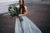 02 a grey blue wedding dress for a moody summer wedding