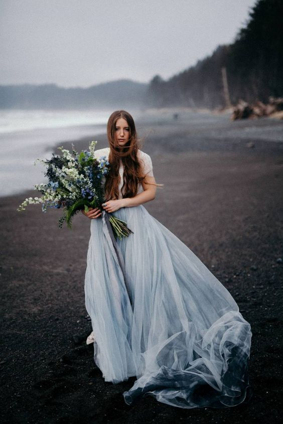 a grey blue wedding dress for a moody summer wedding