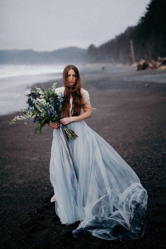 a grey blue wedding dress for a moody summer wedding