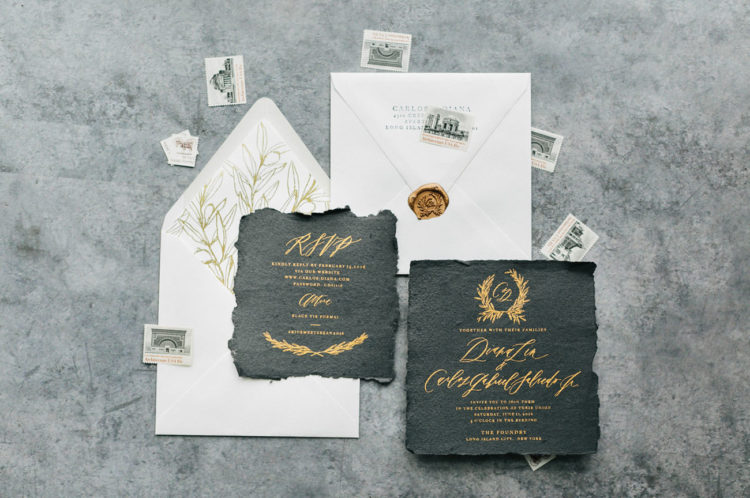 elegant and refined gold calligraphy on black