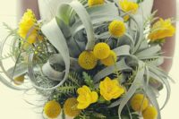 03 a bold bouquet with pale air plants, billy balls and yellow blooms