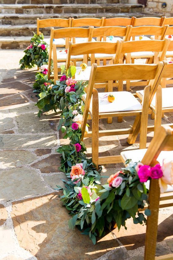 bold greenery and flower chair garland