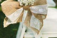 03 decorate the chairs with burlap and lace bows and baby's breath