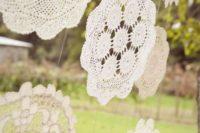 03 romantic crochet doilies hanging as a backdrop