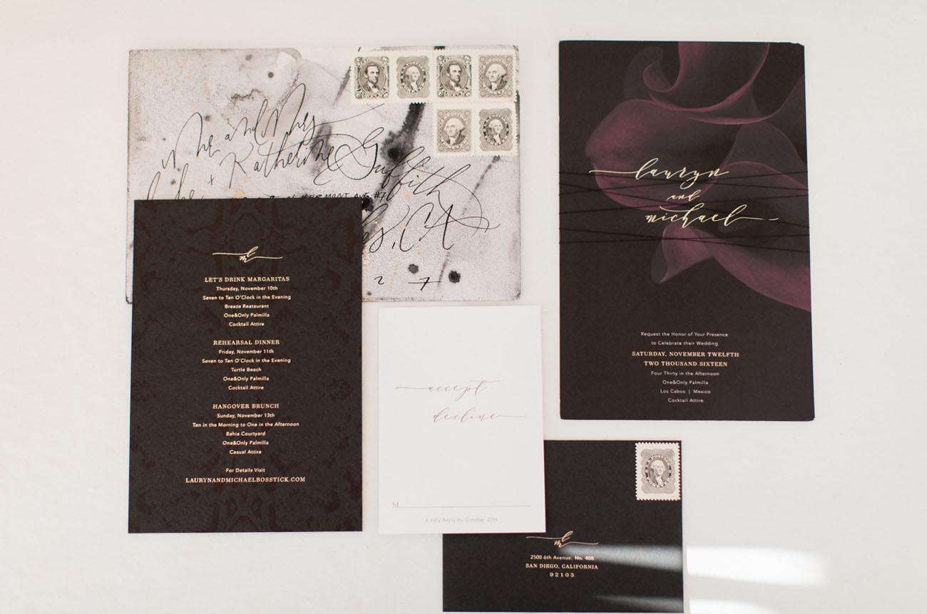 The invitations reflected the essence of the wedding with black and white design and giant callas