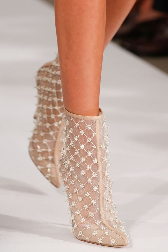 nude pointed booties with beading look chic