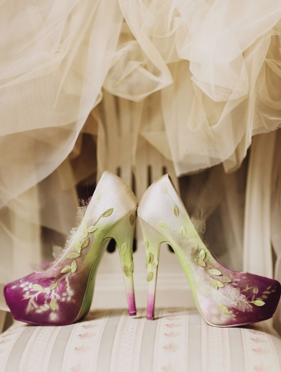 The bridal shoes are customized by the bride and turned into magical ones