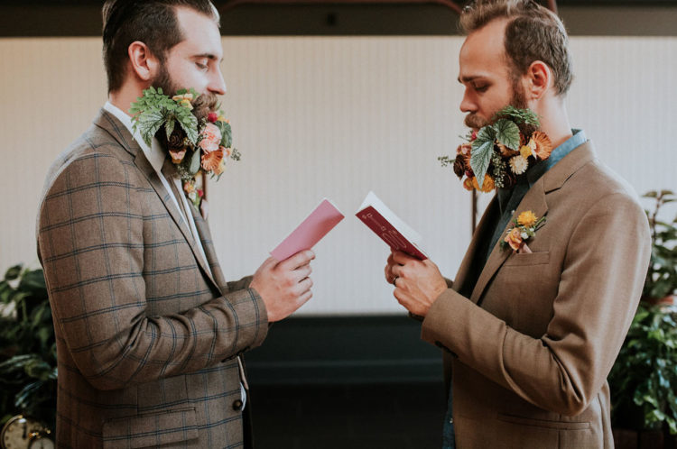 The grooms were rocking fancy beards with flowers and greenery, you know about this trend, I'm sure